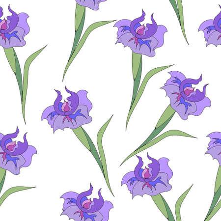 purple irises: Decorative purple irises with leaves on white.