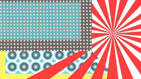 linearly: Colourful pop art with dots, lines and circles. Illustration