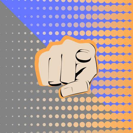 dedo indice: el dedo índice que señala la mano al espectador en el fondo colorido. Vectores