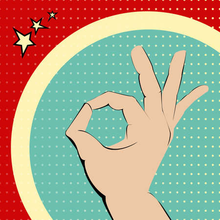ok hand: Ok hand on red and turquois spotted background. Illustration