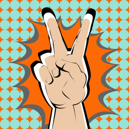 orange splash: Bright v sign hand on orange splash. Illustration