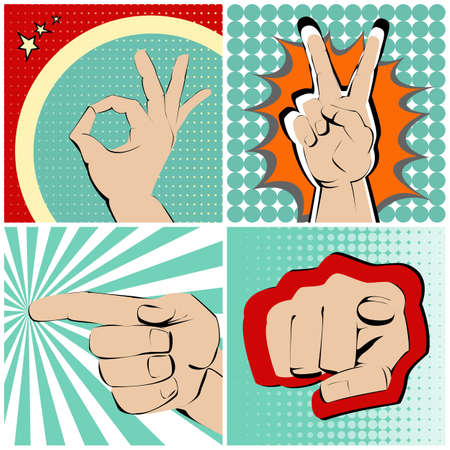 winning mood: Four hands gestures on bright and colourful background.