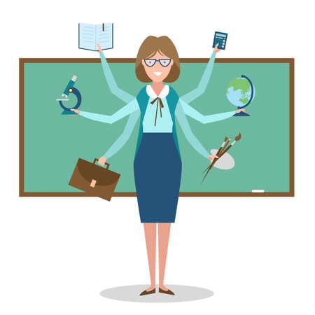 skillful: Multitasking skillful teacher on white background.