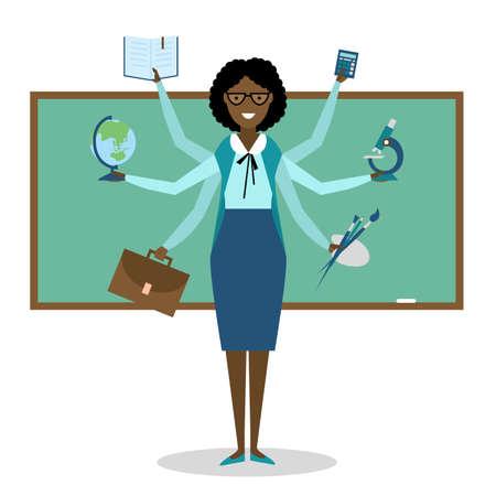 multitasking: Multitasking skillful african american teacher on white background. Illustration