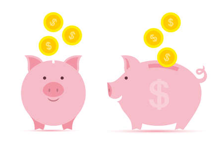 Pink piggy bank with falling golden coins in two perspectives. Illustration