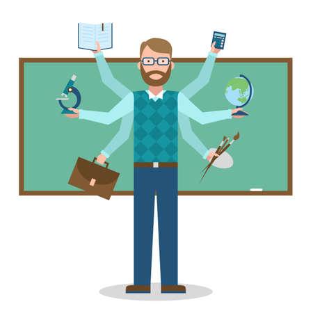 Multitâche enseignant habile sur fond blanc. Vecteurs