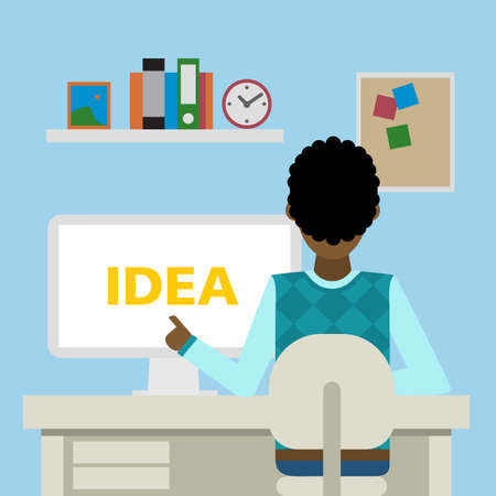 African american man sitting in the office with idea.
