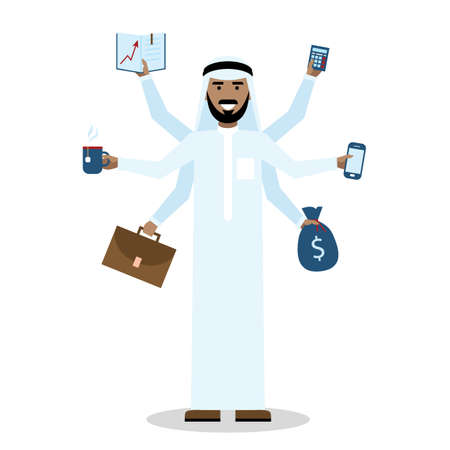 talented: Multitasking arabian man with six hands standing on white background.
