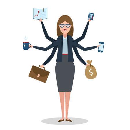multitasking: Multitasking woman with six hands standing on white background. Illustration