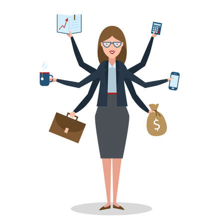 Multitasking woman with six hands standing on white background. Illustration