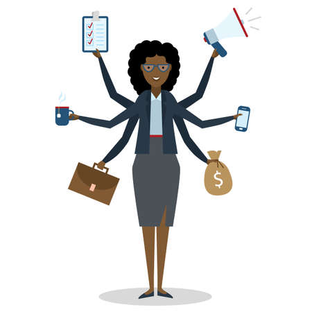 Multitasking african american woman with six hands standing on white background. Stock Vector - 55589332