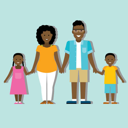 african american family: Family colourful silhouette with african american parents and children.