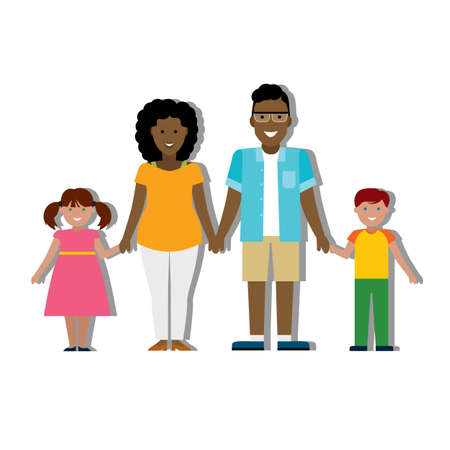 multicultural: Multicultural family on white background. Illustration