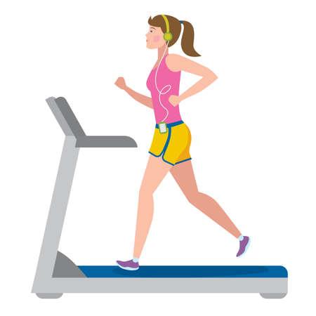 fit: Fit girl running on treadmill on white. Illustration