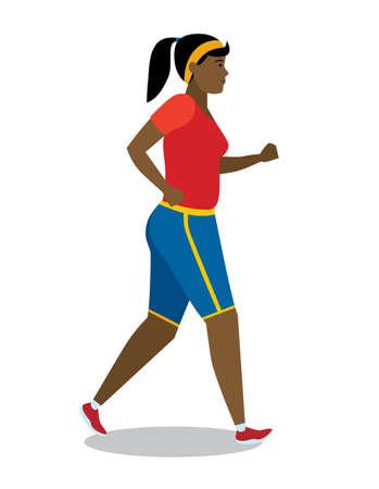 African American Mädchen mit Schweiß hart läuft. Vektorgrafik