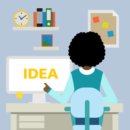 african girls: African american woman sitting in the office with idea.
