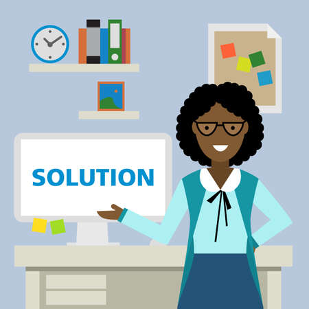 african american business woman: African american woman standing in the office with solution.