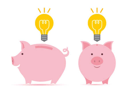 time account: Pink piggy bank with idea bulb in two perspectives.