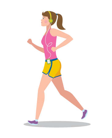 active: Active girl running with player. Illustration