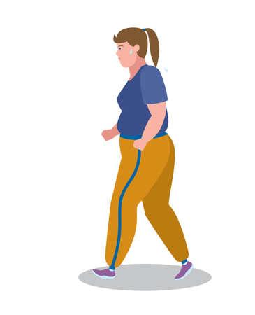 sweat: Fat girl running with sweat. Illustration