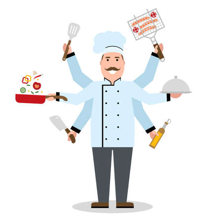 talented: Multitasking chef with six hands standing on white background and holding a meal, knife, paddle, pan with vegetabes, oil and barbeque. Successful cook. Restaurant chef. Skillful and talented