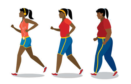 keep fit: Weight loss stages on white background. African american girl lose weight, keep fit and follow a diet. Become thin and slim. Shape change. Fit female character.