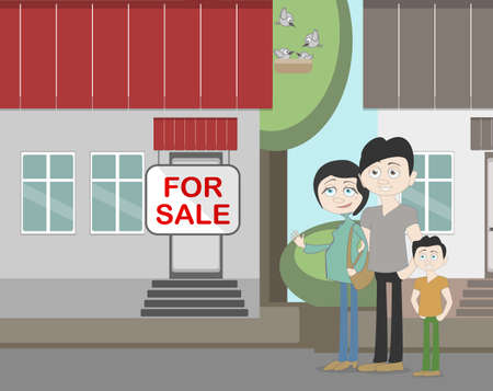 family outside house: Young family with for sale house. Family search for new house. House with for sale sign. Happy new family. Parents and child. Pregnant mother. Illustration