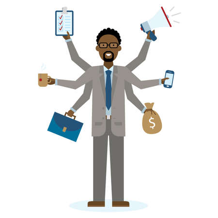 talented: Multitasking african american businessman with six hands standing on white background. Successful businessman. Workaholic. Talented and professional. Leadership. Illustration