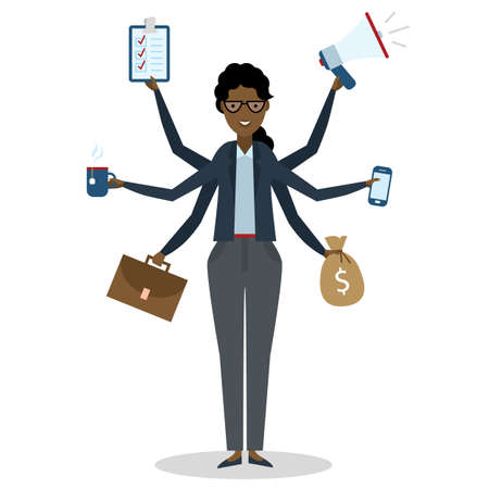 talented: Multitasking african american businesswoman with six hands standing on white background. Successful businesswoman. Workaholic. Talented and professional. Leadership. Illustration