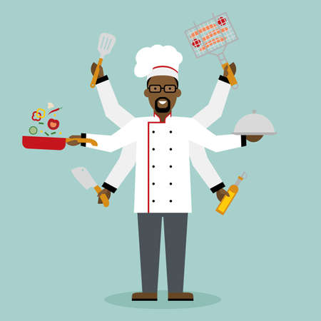 multitasking: Multitasking african american chef with six hands standing on white background and holding a meal, knife, paddle, pan with vegetabes, oil and barbeque. Successful cook. Restaurant chef.