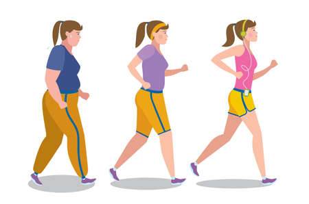 become: Weight loss stages on white background. Girl lose weight, keep fit and follow a diet. Become thin and slim. Shape change. Fit female character. Illustration