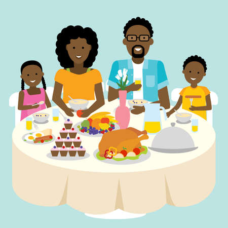 american table: Happy african american family dinner table. Thanksgiving celebration. Cake and turkey. Holiday togetherness.