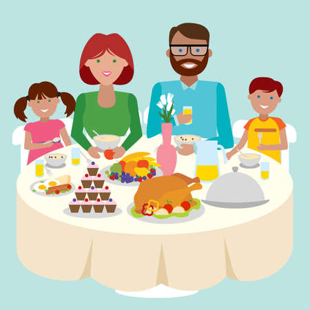 family holiday: Happy caucasian family dinner table. Thanksgiving celebration. Cake and turkey. Holiday togetherness. Illustration