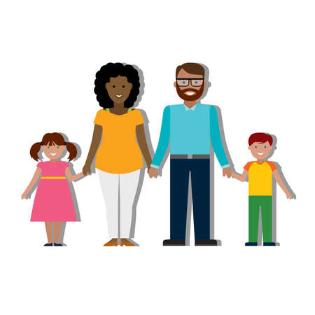 african american family: Multicultural traditional family with parents and children. Happy family. Boy and girl. African american mother. Bearded dad.