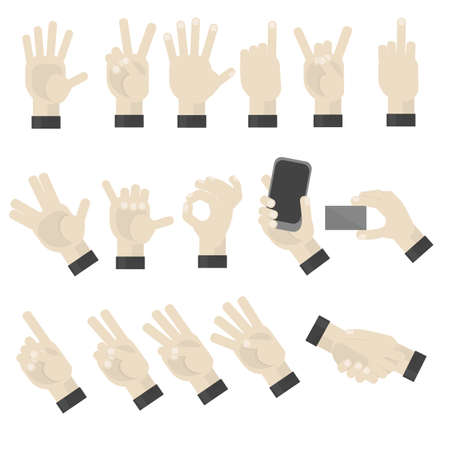 handshaking: Hands gesturing set on white background. Shaka, holding a phone, card, handshaking, peace and victory pointing, rock, vulcan salute gesturing. Counting.