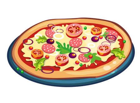dough: Pizza on white background. Ingredients are dough, tomatoes, mushrooms, olives and more. Fresh hot and delicious.