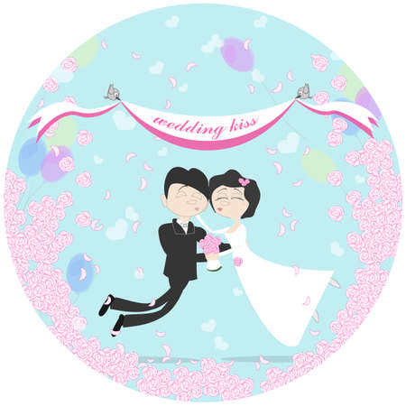 flying kiss: Wedding couple flying in the air between clouds. Marriage kiss. Birds holding banner. Happy young family. Honeymoon.