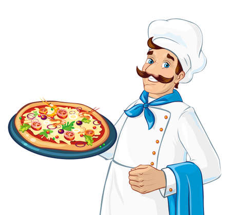 pizza ingredients: Caucasian chef holding pizza. Plate with pizza. Ingredients as cheese, tomatoes, greens. Fresh and delicious.