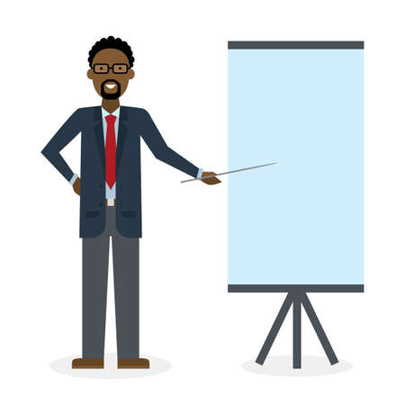 african teacher: Businessman with pointer and easel board on white background. Teacher or businessman showing and presenting. African american businessman. Office person.