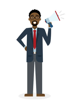 man holding book: Business man with  megaphone on white background. Isolated african american businessman holding loudspeaker and book. Announcement and advertising. Attention please. Loud voice.