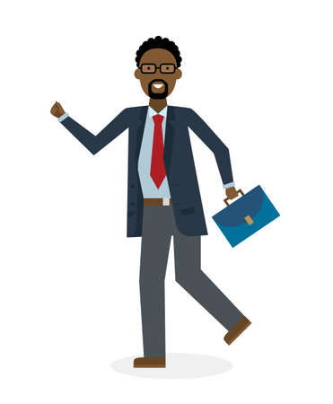 suit case: Businessan running on white background. Isolated cartoon character. African american businessman with suit case. Successful achievement. Active work. Fast lifestyle. Illustration