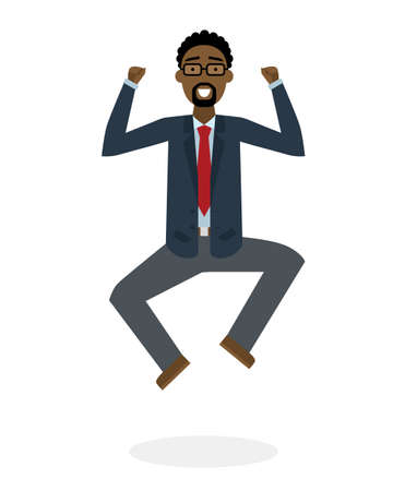 businessman jumping: Businessman jumping in the air on white background. Concept of victory, business success and celebrating. Isolated happy african american businessman is excited. Illustration