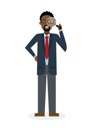 analyzing: Businessman with magnifier on white background. Isolated character. African american observer. Analyzing tool. Magnifying glass. Curiosity and research in business.