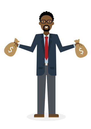 money bags: Businessman with money bags. Isolated character. African american businessman holding bags of money. Wealth and investment.