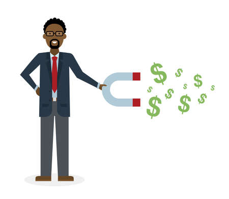 earn money: Businessman with magnet on white background. African american businessman holding magnet. Magnetize money, wealth, finance. Earn money.