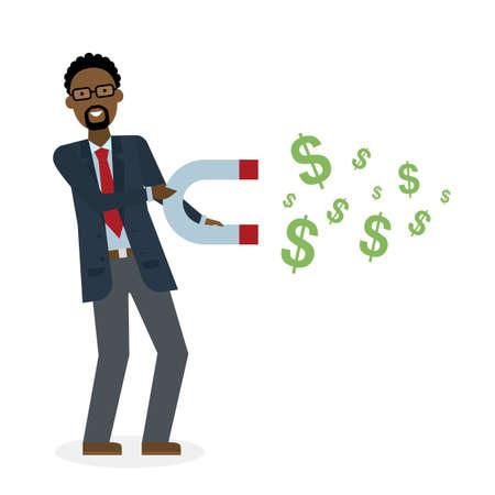 Homme d'affaires avec aimant sur fond blanc. américain aimant d'affaires de maintien africain. Magnétiser l'argent, la richesse, la finance. Gagner de l'argent.