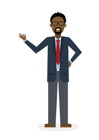okay: Businessman with ok on white background. African american white-collar gesturink okay. Successful and positive consultant. Greeting or agreement. Illustration