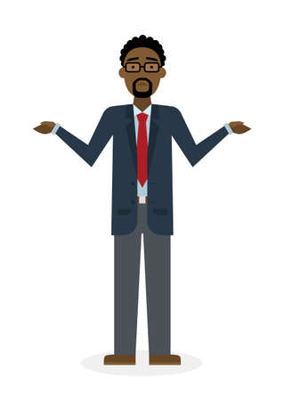 unsure: Confusing businessman on white background. Isolated character. African american businessman shrugging shoulders. Uncertain, unsure and worry. Thinking about answer.