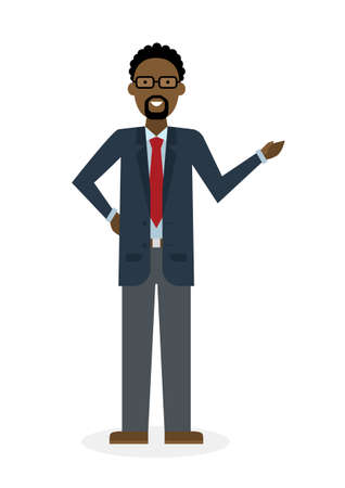 adviser: Businessman pointing on white background. Isolated caharacter. African american instructor and adviser. Illustration