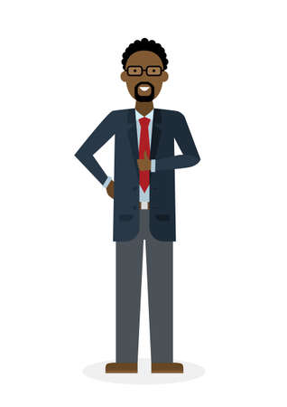 Businessman with thump up on white background. African american white-collar gesturink thumb up. Successful and positive consultant. Greeting or agreement.
